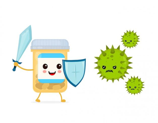 細菌微生物ウイルスと剣と盾の戦いでかわいい幸せな面白い強力な薬瓶 Premiumベクター