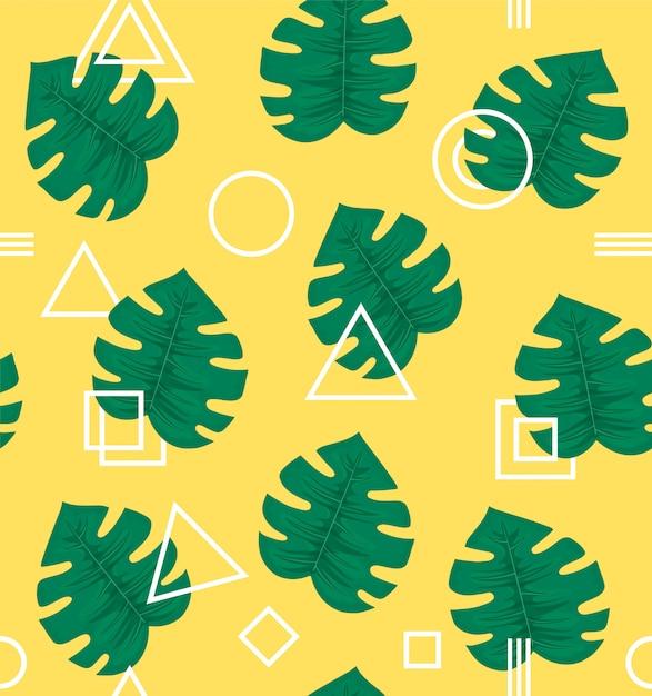 Дизайн с тропической пальмой, завод предпосылки картины абстрактной современной ультрамодной геометрии битника стиля безшовный. модный креатив. Premium векторы
