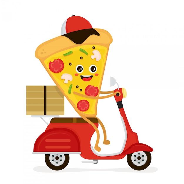 Милый, улыбающийся, забавный, милый кусок пиццы едет Premium векторы