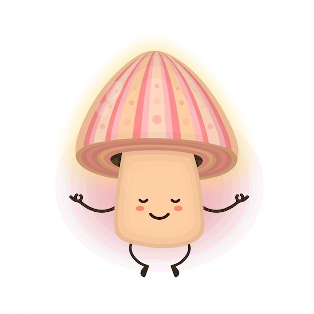 Милый улыбающийся счастливый волшебный медитирующий гриб псилоцибин Premium векторы