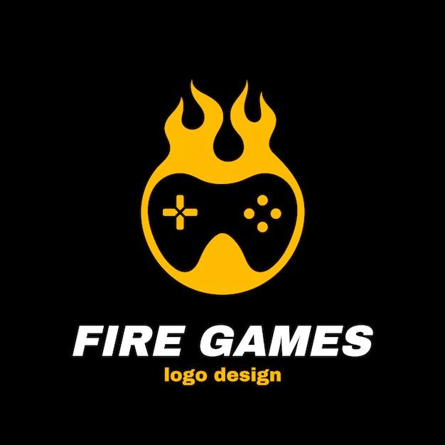 Огненные игры векторный логотип шаблонов. джойстик в огне. горячая игра, геймпад, концепция геймера Premium векторы