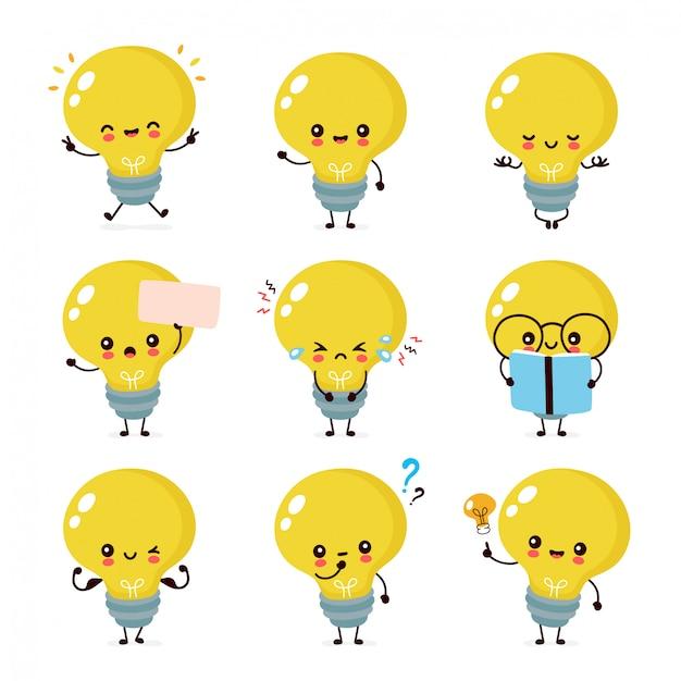 かわいい幸せな笑みを浮かべて電球文字セットのコレクション。 Premiumベクター