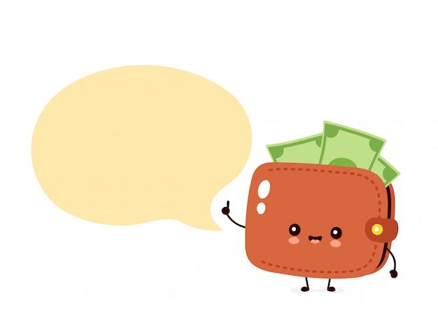 Милый счастливый бумажник банкноты денег с пузырем речи Premium векторы