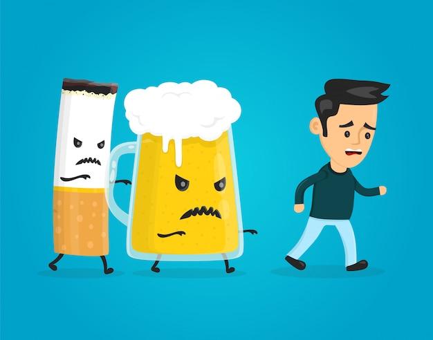 ビールとタバコを追いかけて男を追いかける Premiumベクター