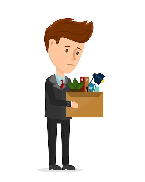 Увольнение расстроено. деловой человек уволен из офиса остаться с коробкой. мультфильм современный модный плоский символ иллюстрации значок. вы уволены, сокращение рабочих мест, кризис Premium векторы