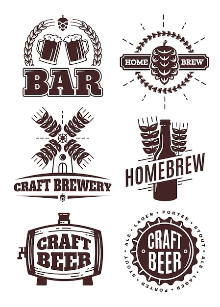 ビンテージクラフトビールヒップスターロゴ。バーのラベル、スタンプ、エンブレム、要素。白で隔離。オーバーヘッド、醸造、ビュー、飲料 Premiumベクター