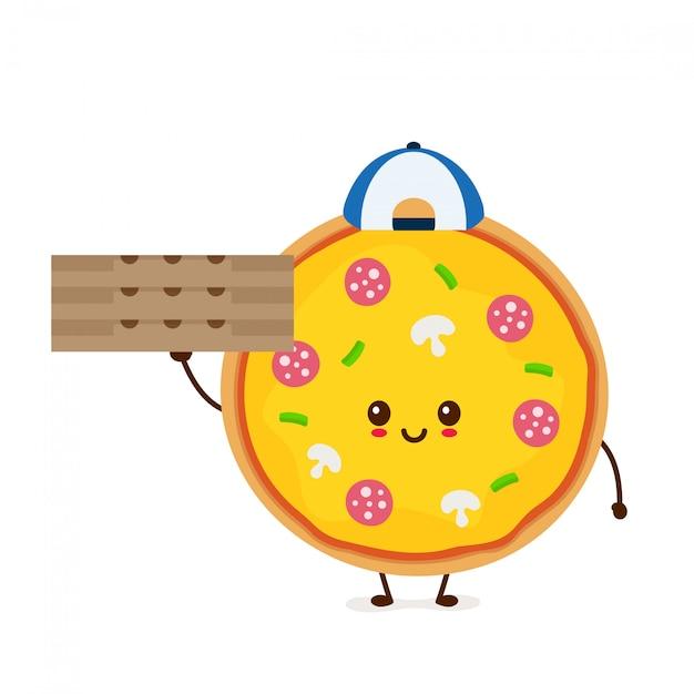 Милый усмехаясь смешной милый мальчик поставки пиццы с коробкой. современный плоский стиль мультипликационный персонаж иллюстрации. изолированные на белом. доставка пиццы Premium векторы