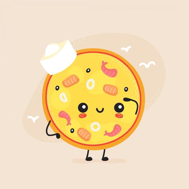 Симпатичные счастливые морепродукты пицца персонажа. Premium векторы