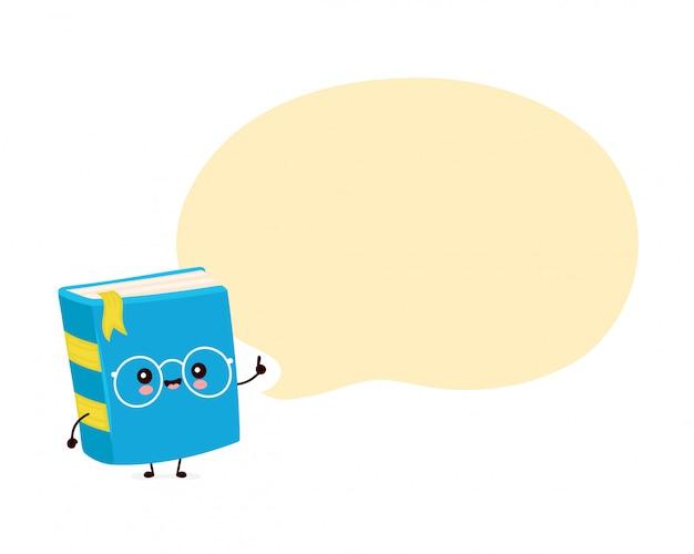 Милая счастливая усмехаясь книга с пузырем речи. плоский дизайн иллюстрации персонажа из мультфильма. изолированный на белой предпосылке. книга, концепция образования Premium векторы