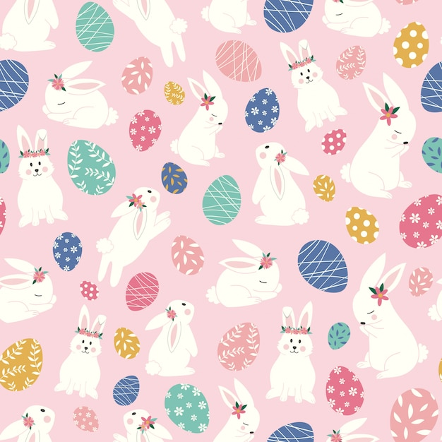 かわいいウサギとイースターエッグのシームレスパターン Premiumベクター