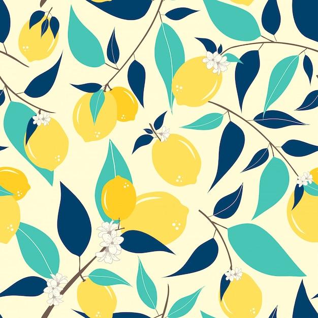 レモンのシームレスパターン Premiumベクター