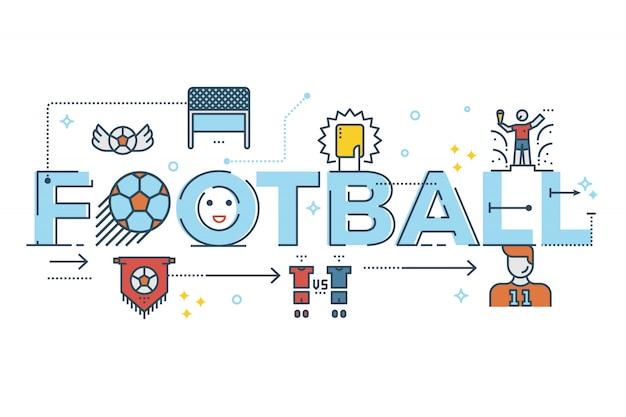 フットボールの単語のレタータイポグラフィデザインのイラスト Premiumベクター