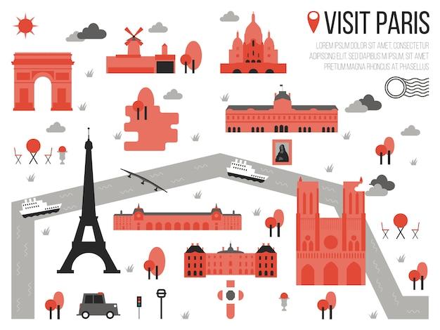 パリの地図のイラストをご覧ください ベクター画像 プレミアムダウンロード