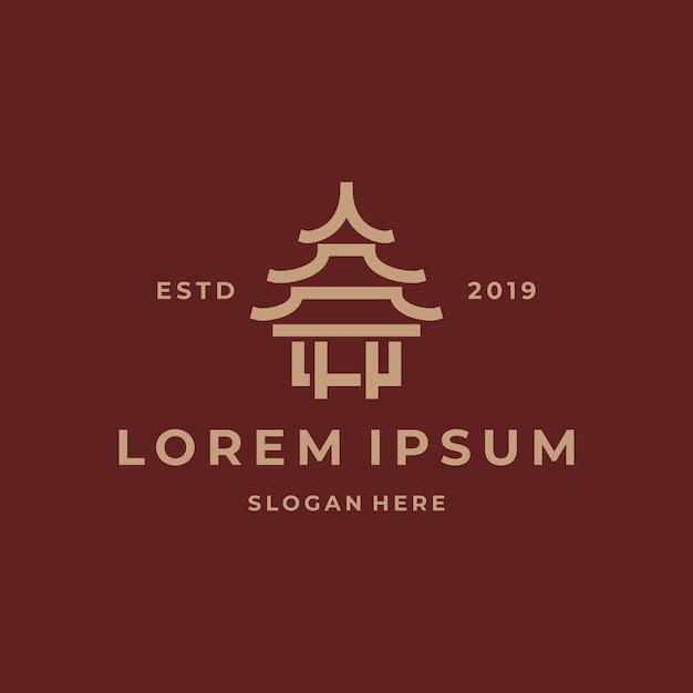 Простой храм логотип шаблон Premium векторы