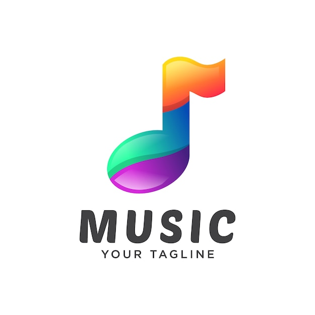 Музыка логотип современный градиент Premium векторы