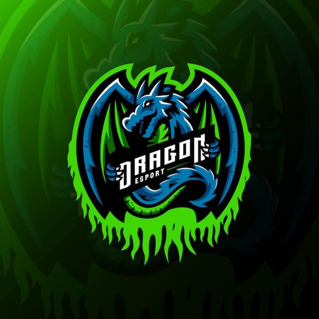 Дракон талисман логотип киберспорт игровая иллюстрация Premium векторы