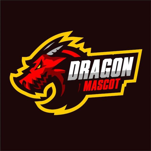 Красный дракон талисман игровой логотип Premium векторы