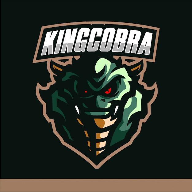 Король кобра талисман логотип игровой вектор шаблон Premium векторы