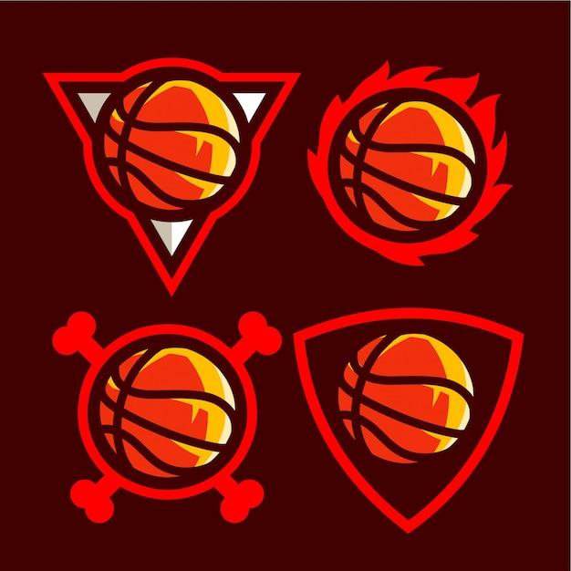 アメリカンスポーツチームのバスケットボールのロゴを設定します。 Premiumベクター