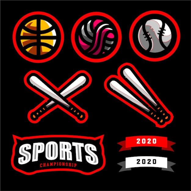 スポーツロゴ選手権を設定する Premiumベクター