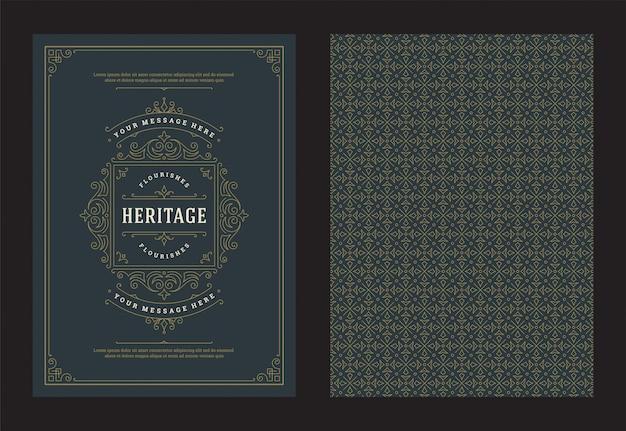 Старинные украшения открытки каллиграфические витиеватые орнаменты и виньетки кадр вектор дизайн Premium векторы