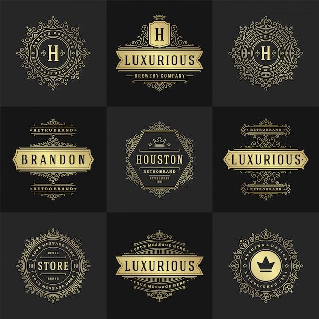 ヴィンテージのロゴとモノグラムセットエレガントな活気づくラインアート優雅な装飾ビクトリア朝様式のベクトルテンプレート Premiumベクター