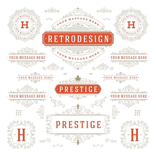 Старинные украшения сучки и свитки украшения элементы дизайна вектор набор процветает богато каллиграфические Premium векторы