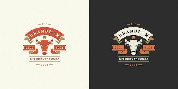 肉屋店のロゴベクトル図牛ヘッドシルエットの農場やレストランのバッジに良い Premiumベクター