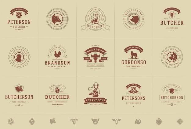 Логотипы мясного магазина установили иллюстрацию вектора хорошую для значков фермы или ресторана с животными и силуэтами мяса Premium векторы