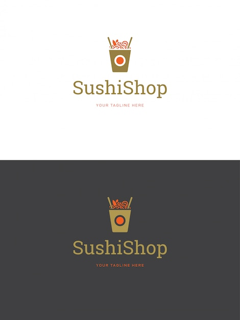 寿司レストランのエンブレムのロゴのテンプレートベクトル図です。 Premiumベクター
