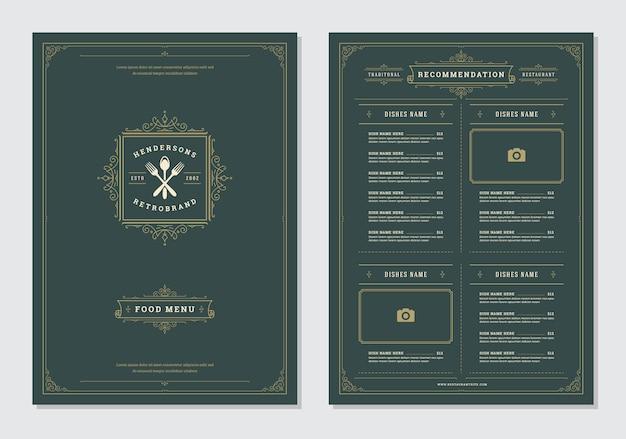 レストランメニューデザインとラベルベクトルのパンフレットの型板。 Premiumベクター