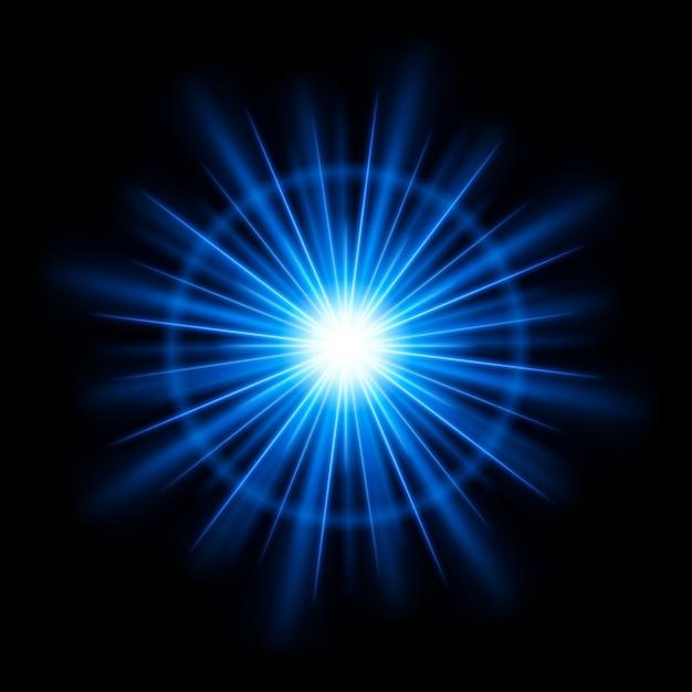 抽象的な青いレンズフレア光バーストまたは光線ベクトルと太陽 Premiumベクター