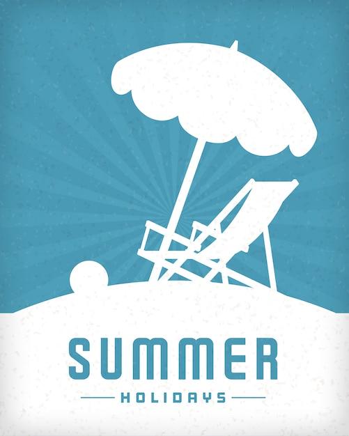 Пляж и шезлонг стул летом векторный фон. Premium векторы
