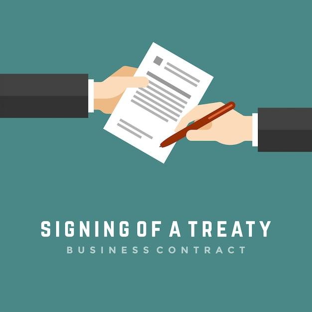 Деловой человек руки, держа контракт и ручка плоской иллюстрации Premium векторы