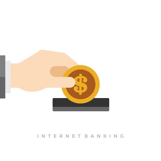 お金コインとドルアイコンフラットイラストを持っているビジネスマン手 Premiumベクター