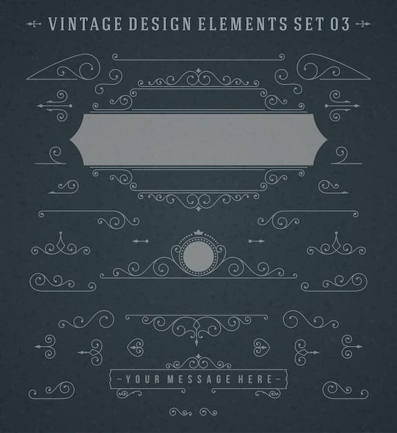 ビンテージビネットまんじ装飾品装飾デザイン要素ベクトルセット Premiumベクター