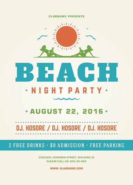 夏休みビーチパーティーポスターやチラシテンプレートデザイン Premiumベクター