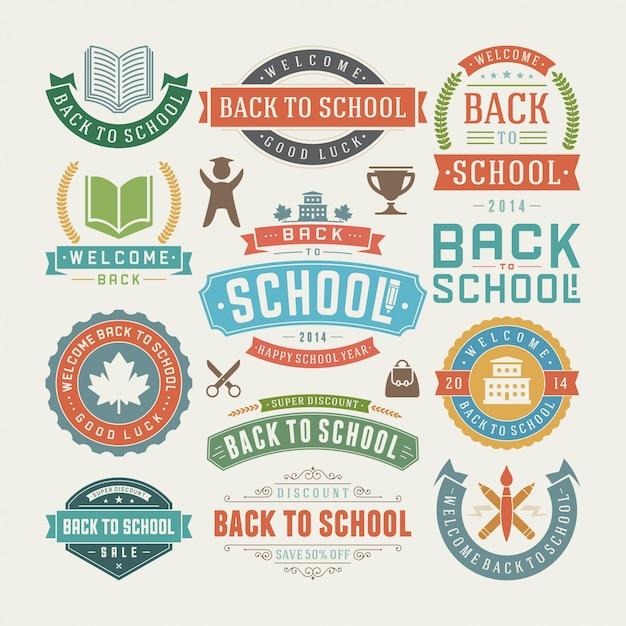 学校の要素に戻る販売ラベルとバッジセット Premiumベクター