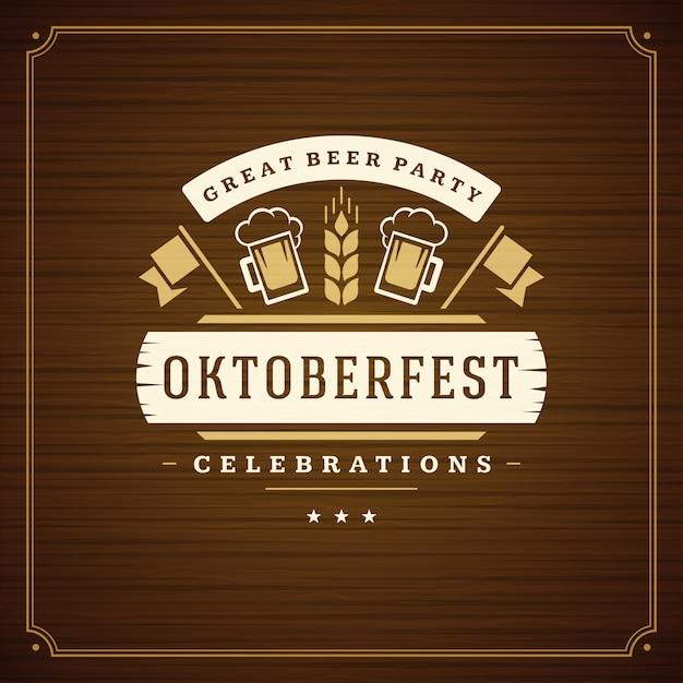 オクトーバーフェストビール祭りお祝いビンテージグリーティングカードまたはポスター Premiumベクター