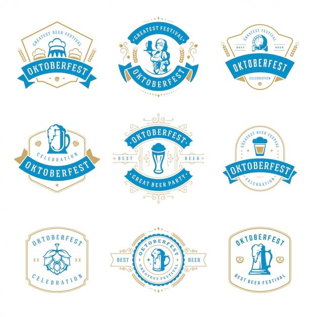 オクトーバーフェストのお祝いビール祭りのラベル、バッジおよびロゴセット Premiumベクター