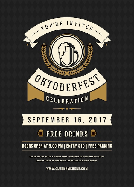 オクトーバーフェストビール祭りのお祝いレトロなタイポグラフィポスター Premiumベクター