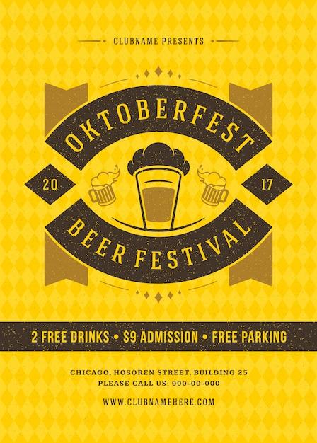 Октоберфест фестиваль пива празднование ретро типография плакат Premium векторы
