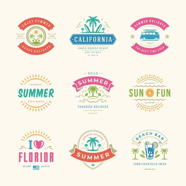 夏休みラベルとロゴセット Premiumベクター