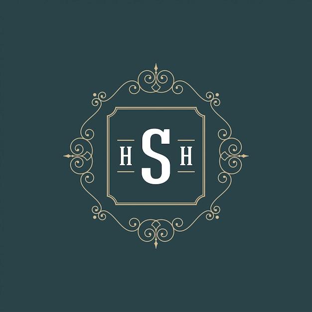 Процветает каллиграфический логотип вензель шаблон роскошный контур орнамента рама Premium векторы