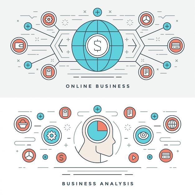 フラットラインオンラインビジネス分析概念図。 Premiumベクター