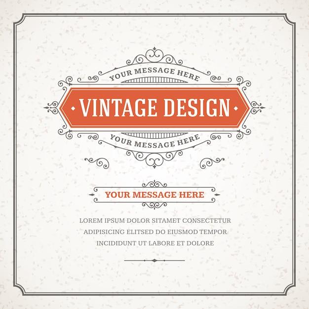 Старинный орнамент поздравительной открытки вектор шаблон. Premium векторы