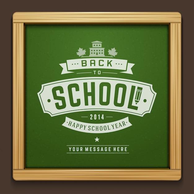 活版印刷の要素と黒板にチョークで描く学校テキストに戻る Premiumベクター