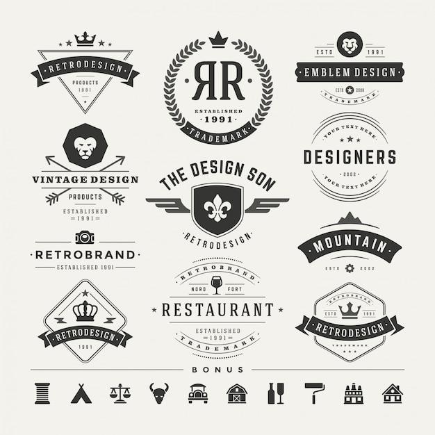 レトロなビンテージ徽章やロゴタイプはベクターデザインの要素を設定します Premiumベクター