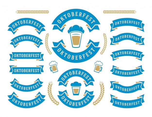 オクトーバーフェストのお祝いビール祭りのリボンとオブジェクトセット Premiumベクター