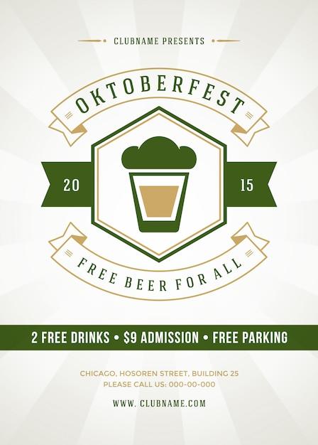 オクトーバーフェストビール祭り活版印刷のポスター Premiumベクター